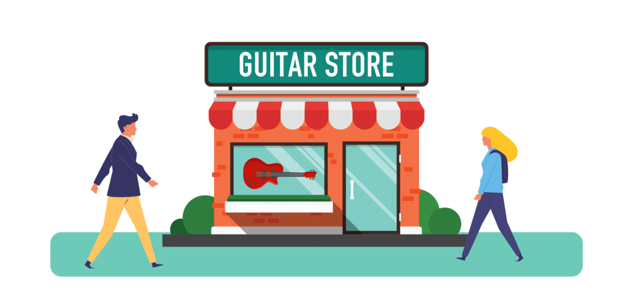 beginner guitar player buying first guitar guitar store