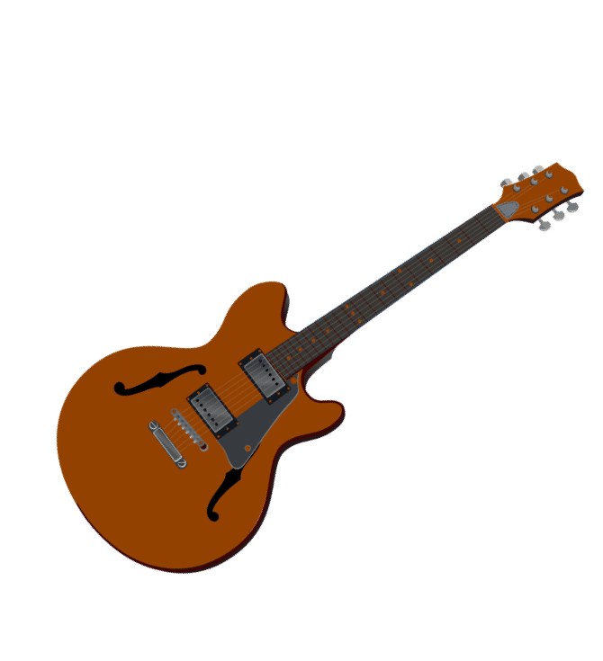 brown hollow body electric guitar