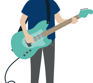 electric guitar beginner player