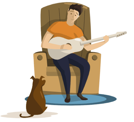playing guitar with dog