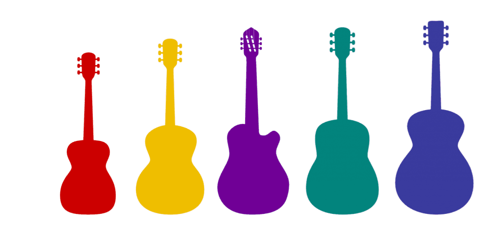 sizes and shapes of acoustic guitar
